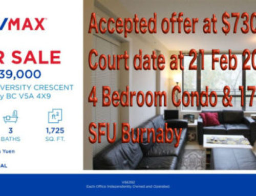 Accepted offer 730K & Court Date 21Feb2019 – Burnaby Simon Fraser University (SFU) 4 Bed Condo