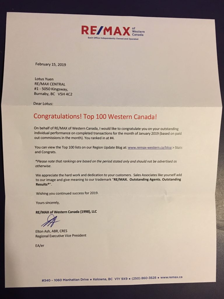 Remax Top 100 Western Canada - Lotus Yuen Rank #4