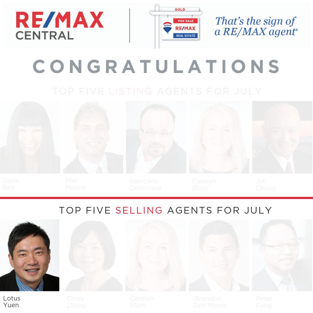 Top 5 Selling Realtor July 2019