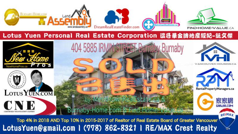 SOLD - 404 5885 IRMIN STREET Burnaby