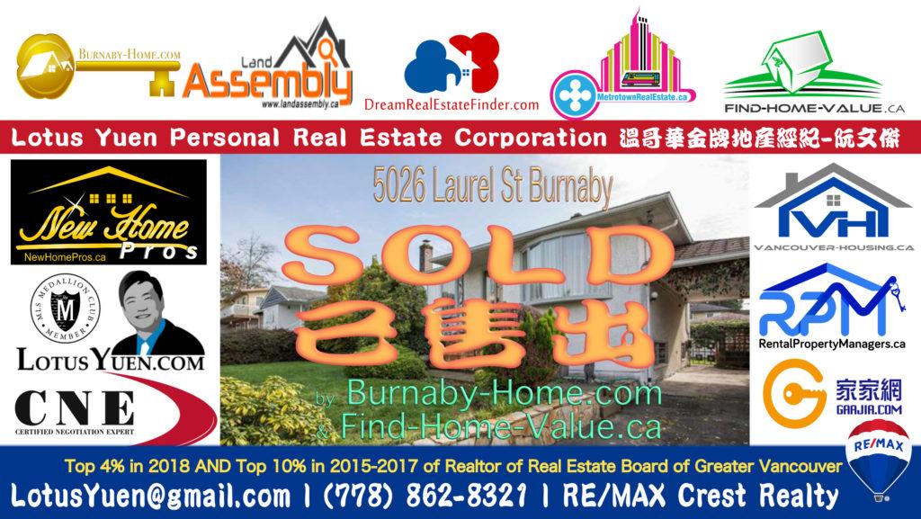 SOLD - 5026 LAUREL STREET Burnaby