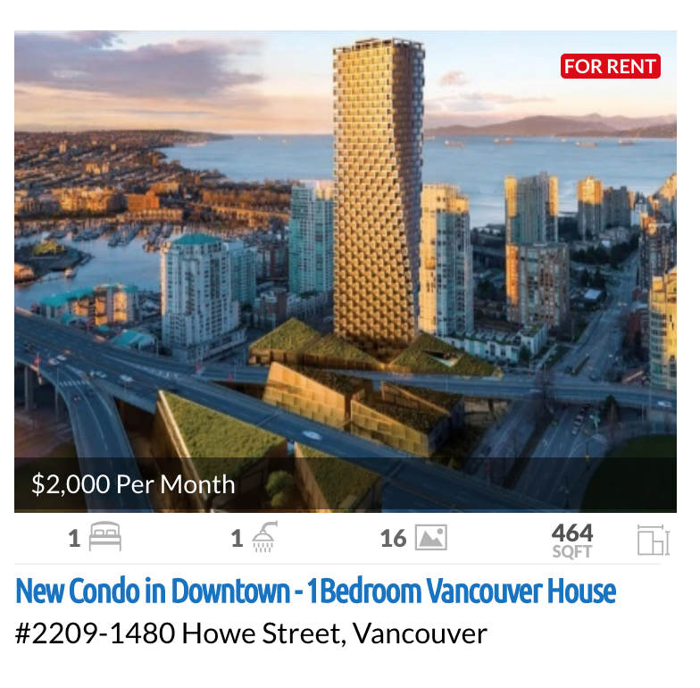 Vancouver House Downtown 1 Bed Condo for Rent
