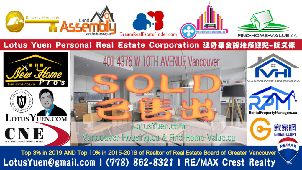 SOLD - 401 4375 W 10TH AVENUE Vancouver