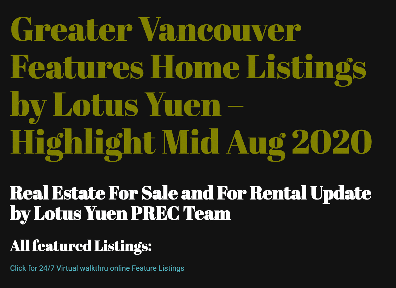 Feature Listings 2020 Aug by Lotus Yuen