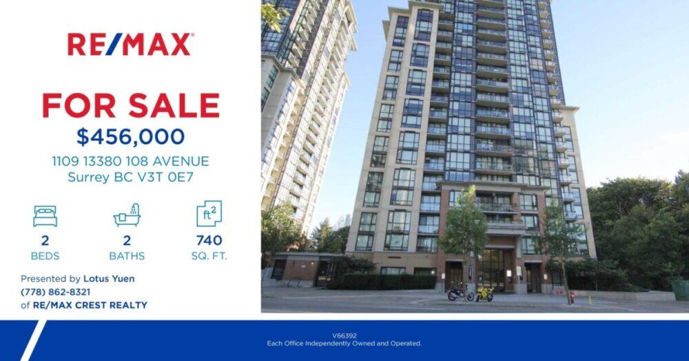 Surrey High rise condo near skytrain For Sale – 1109 13380 108 AVENUE, Surrey