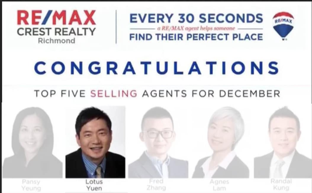 Top 5 Selling Agent with Lotus Yuen v1 - Dec 2021